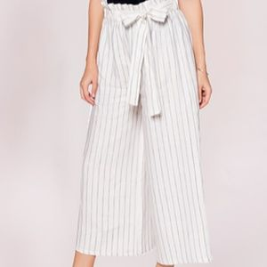 Last Tango Striped Cropped Wide Leg Pants - size L